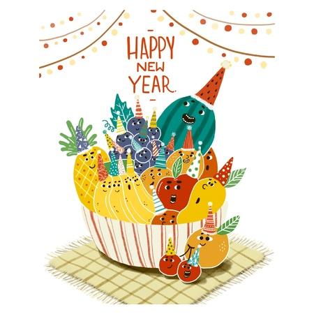Happy New Year Decoration Fruit Cake Illustration Illustration
