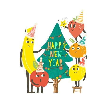 Happy New Year Decoration Fruit Christmas tree Illustration