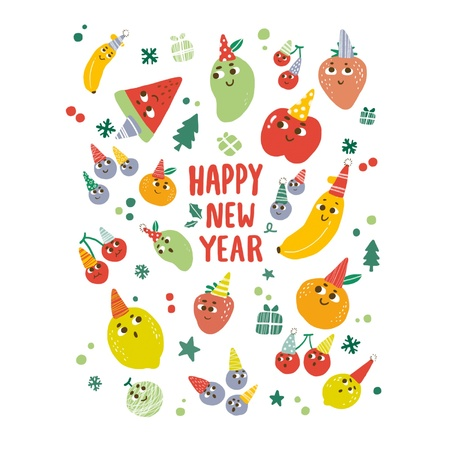 Happy New Year Fruit party Illustration Stock Vector - 16232101