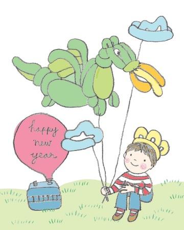 Happy new year balloon illustration Illustration