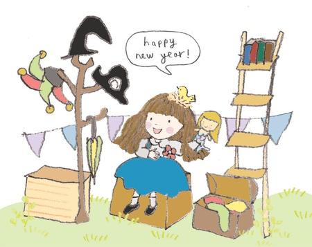 Happy new year story teller illustration
