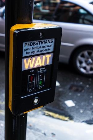 pedestrians: Traffic light, for pedestrians, London Stock Photo