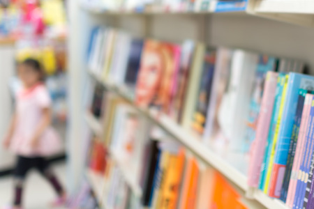 Blurred image of book store, for background usage.