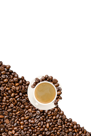 caffeine free: Cup of coffee and coffee beans isolated on white.