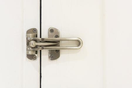 locked doors in hotel on wooden door. Locked status.