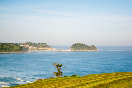 basque country: The morning Autumn coastal view of Zarautz, a town in central Gipuzkoa a province in Spain located in the Basque Country.
