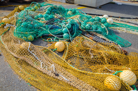 Fishing nets laid out on the floor at Saint Jean De Luz, Basque Country, France.