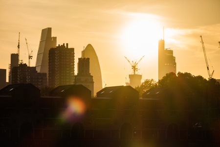 sihlouette: Sunset over London creating a sihlouette of the London skyline signifying the end of the day