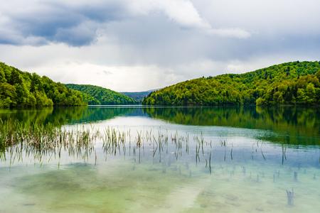 Landscape view of Plitivice lake in Croatia, a Unesco world heritage site. Stock Photo