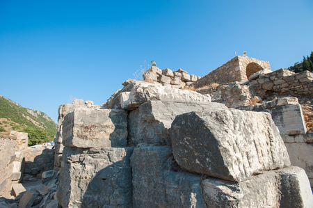 Ruins of the ancient city Ephesus, the ancient Greek city in Turkey, in a beautiful summer day. Stock Photo