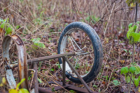 Abandoned pram, throwing a pram, there was a pram in the forest. 스톡 콘텐츠