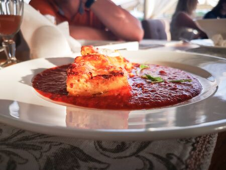 Lasagna in Tomato Sauce. Tasty delicious italian dish lasagna with tomato sauce and cream cheese with green salat. Food, tasty dinner concept.