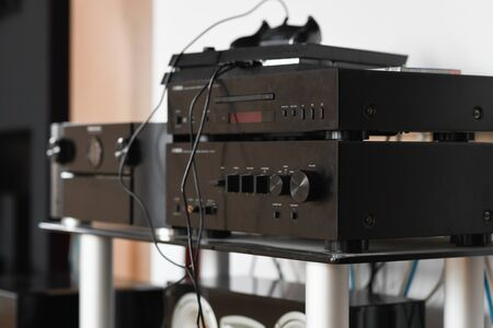 Hi-Fi at home. enjoys music from stereo hi-fi.