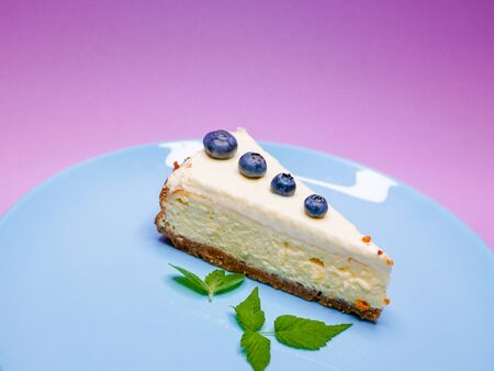 Blueberry Cheesecake. Blueberry mint cheesecake on a pink, purple, coral background. on a blue plate. Tasty breakfast. side view. Stock Photo