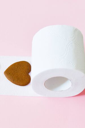 favorite toilet paper. Rolls of toilet paper on color background, top view. Space for text Stock Photo - 130505349