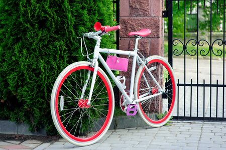 white and red bike. Stylish female red bike. standing on a sunny day outside. good pagoda for cycling Banco de Imagens