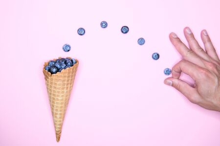 blueberry ice cream. Studio shot. berry levitation. place for an inscription. view from above Banque d'images - 131713064