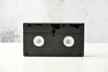 videotape. Media pop culture of the 80s. video recording on a light background. View from above. Very Old Video Tape.