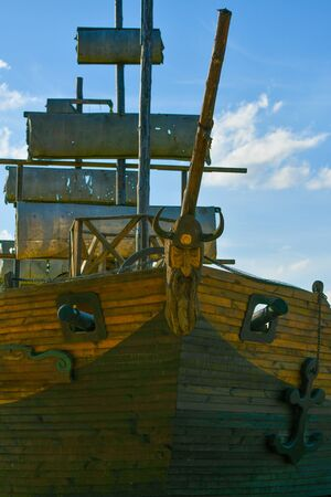 wooden old ship. against the blue sky. pirate ship. Stock Photo
