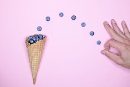 blueberry ice cream. Studio shot. berry levitation. place for an inscription. view from above