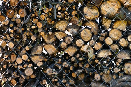 firewood close-up. Woodpile with firewood. Close-up. Space for text. Horizontal. Stok Fotoğraf