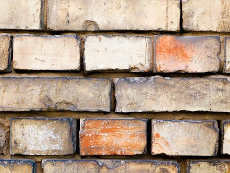 masonry of old brick. burnt. many years later 스톡 콘텐츠