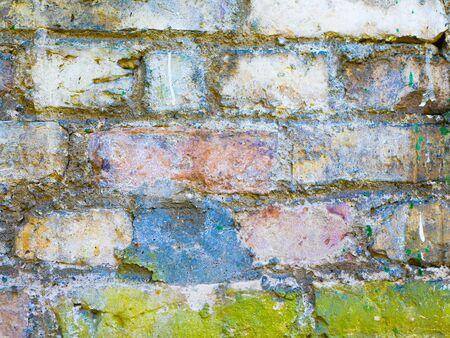 background of multi-colored old brick. brick old wall texture. Old worn brick texture background