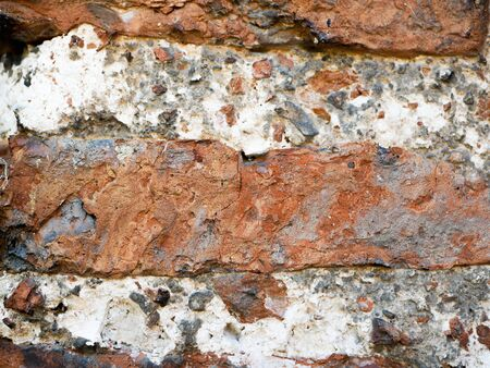 old brickwork. Fragment of an old wall with brickwork. Background. Uneven, obsolete, ancient, medieval, wallpaper, surface, chipped, weathered, masonry, rough.