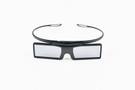 3D glasses on a white background. Three-dimensional movie. Immersion in the film. Isolated