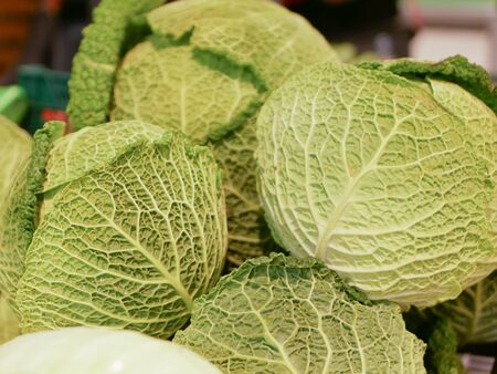 cabbage from the store. buyers choose and buy vegetables at the supermarket stand