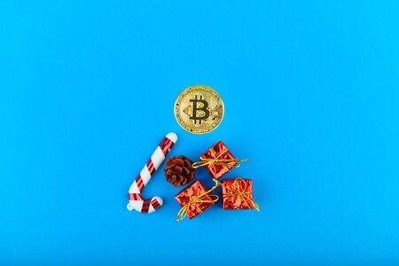 New Year Bitcoin. The concept of festive bitcoins. Place for an inscription. Bitcoin and christmas. contribution to the future.