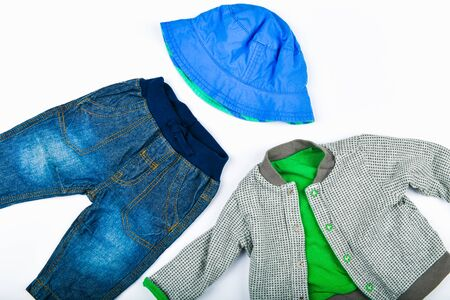 Childrens jeans. flat lay denim socks and panama. place for writing. Childrens fashion 스톡 콘텐츠