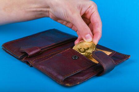 Bitcoin loss concept. Bitcoin theft concept. Place for an inscription. Bitcoin and wallet