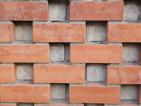 Orange brick wall. Brick with seams. Close-up. brick wall texture background, fence, brick wall, masonry, material, surface, flat, front, view, pattern, abstract, background, design