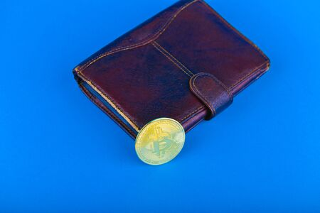 Bitcoin purchase concept. Bitcoin purchase concept. Place for an inscription. Bitcoin and wallet. Bitcoin Conservation.