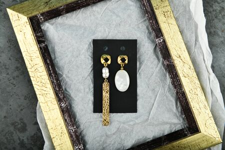 Silver earrings. handwork. A set of earrings in a silver frame with mother of pearl from an unusual pearl pearl