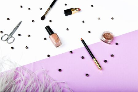 womens shopping. Basket and womens accessories. Women's accessories, on a pink background pastel. Beauty and fashion concept. Top view, flat minimalism 写真素材