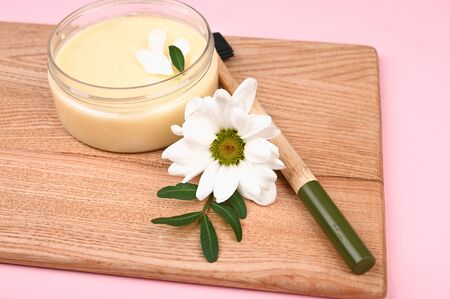 cosmetics and natural vegetation. anti-aging cream. Cream for skin care. for hands. for face. cosmetics for care. flat lay.