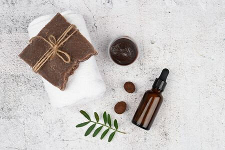 Flat lay skin care. Flat layout with accessories, spa cosmetics, bath salt, cream and towels. Skin care product, natural cosmetic, flat lay image