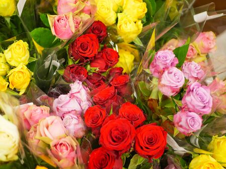 bouquets of flowers. Many bouquets of flowers. Roses, lilies, chrysanthemums. Close-up.