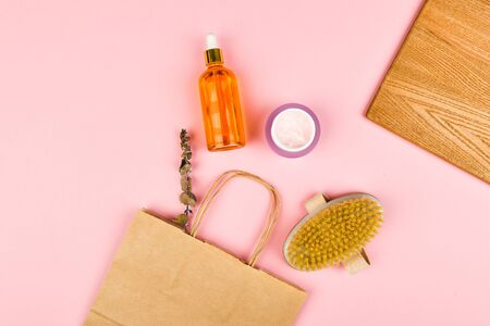 Skin care products. Anti-cellulite massage brushes. top view. Massage brush. On a pink background. Accessories for massage