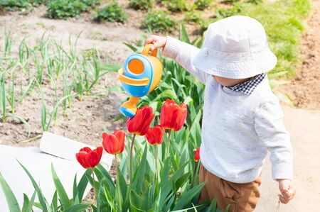 Child watering flowers from a watering can.