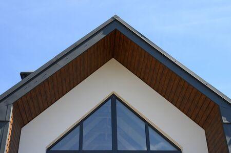 wooden veneer roof of the house.