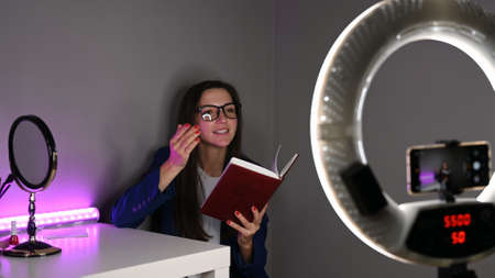 Girl blogger sells courses. Internet development