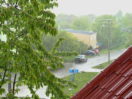 Photo of summer rain outside the window Banque d'images