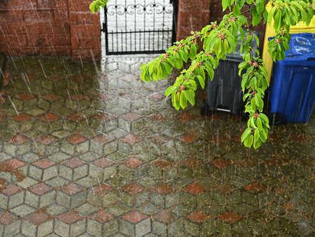 Photo of summer rain outside the window. High quality photo