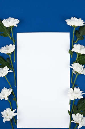 Beautiful rectangular floral arrangement of white flowers with a blank card and place for text on a blue background. Spring flowers concept.