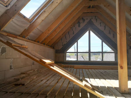 unfinished attic. interior work on the second floor