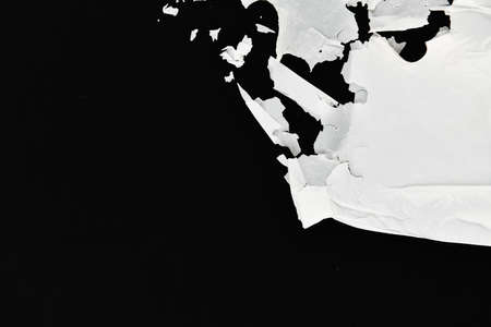 decaying polyethylene. white on a black background. view from above. place for writing. concept of pollution Imagens