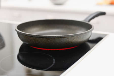 the pan is on the included electric stove.